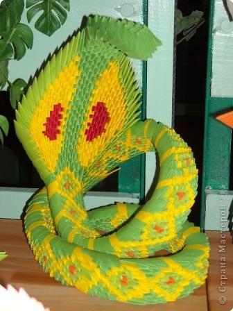 Оригами модульное: змея Бумага.  Фото 2.